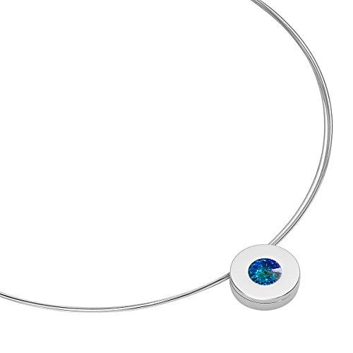 Heideman Halskette Damen Lumen aus Edelstahl Silber farbend poliert Kette für Frauen mit Swarovski Stein Kristall Aurore boreale Opal im Fantasie Edelsteinschliff 10mm