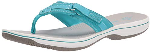 Clarks Women's Breeze Sea Flip-Flop, Aqua Synthetic, 5