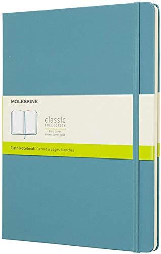 Moleskine Classic Notebook, Taccuino con Pagine Bianche, Copertina Rigida e Chiusura ad Elastico, Formato XL 19 x 25 cm, Colore Azzurro Blu Reef, 192 Pagine