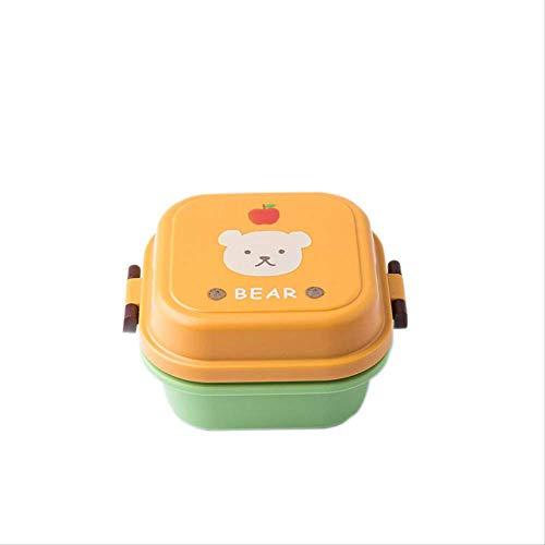 Fiambrera portátil de doble capa para niños con diseño de frutas y oficina
