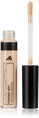 Manhattan Powder Mat Camouflage Concealer 100 Fair, Mattierender Crème, Concealer mit Applikator gegen Augenringe und Hautunreinheiten, 1 x 7ml