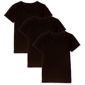 [ガロー] 男の子 キッズジュニア半袖インナー 3枚組 綿100% 黒 ブラック 120 (日本サイズ)