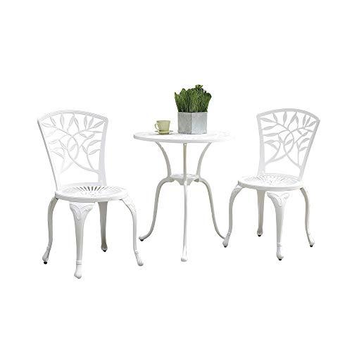 Benzara BM177946 - Mesa y Dos sillas de Estilo transicional, Color Blanco