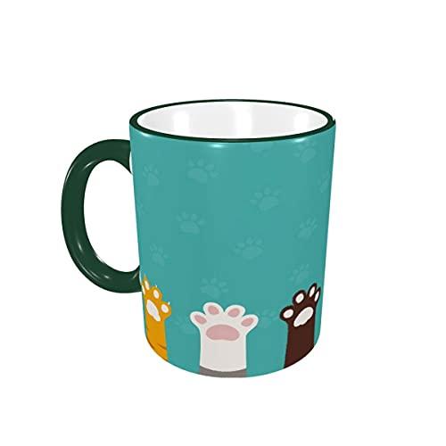 Taza de café Cute Cat Paw Dog Paw Animal Turquesa Tazas de café Tazas de cerámica con Asas para Bebidas Calientes - Latte, Tea, Coffee Gifts 12 oz Forest Green