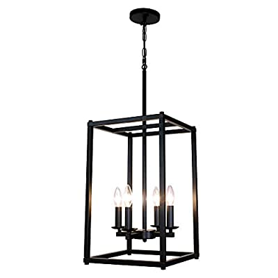 Sivilynus 4 Lights Chandeliers Black Foyer Lighting Farmhouse Pendant Light Fixture Industrial Style Lighting Mid Century Ceiling Light Fixture for Entryway,Hallway and Dining Room Foyer