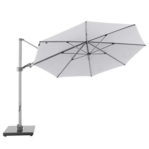 Knirps Sonnenschirm PENDULAR - Runder Premium Ampelschirm - Stilvoll und hochwertig - Starker UV-Schutz - 340 cm - Hellgrau