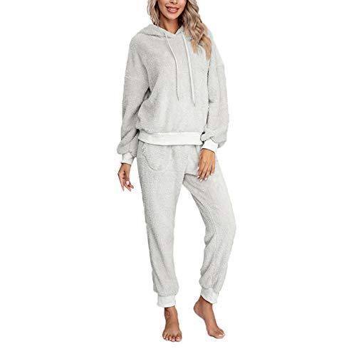 Pijama Mujer Invierno Ropa para Casa Forro Polar Conjunto de Pijama 2 Piezas para Mujer Sudadera de...