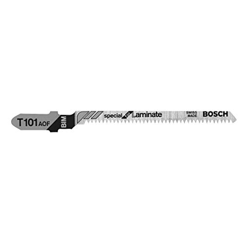 BOSCH T101AOF 5-Piece 3-1/4 In. 20 TPI Special for Laminate T-Shank Jig Saw Blades , Silver