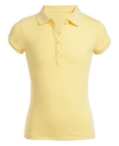 Nautica Girls' Little School Uniform Short Sleeve Polo with Ruffle Placket, Light Yellow, Large(6)