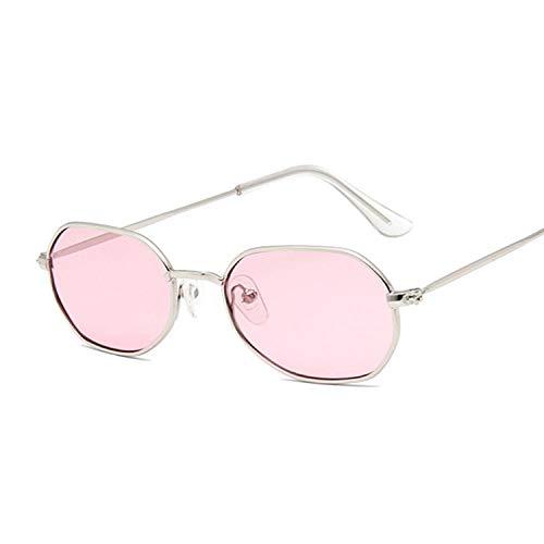 IRCATH Moda Polígono Oval Gafas de Sol Mujer Vintage Negro Pequeño Marco Damas Gafas de Sol Metal Colorful Ocean Mirror Adecuado para Conducir Playa Trekking-Rosa Plateado