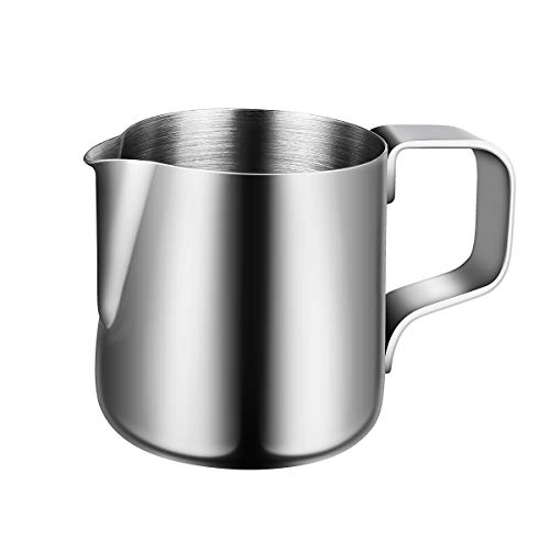 BESTOMZ Milchkännchen, Milk Pitcher 150ml Milchkanne aus Edelstahl, Milch Aufschäumen für Cappuccino und Latté, Silber