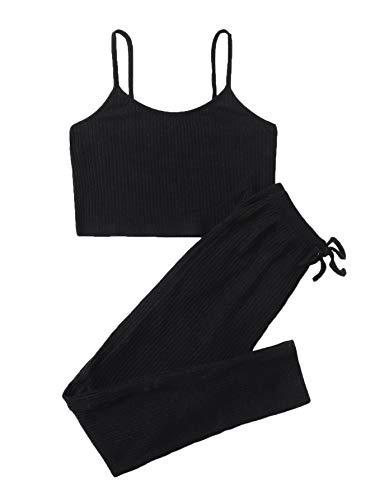 Soly Hux - Conjunto de 2 piezas para mujer, top corto y legging, conjunto de pantalones delgados y camisla Negro S
