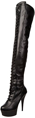 Higher-Heels PleaserUSA Overknee-Stiefel Delight-3023 Lackschw./schw. 38