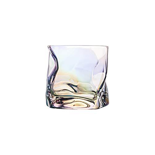 Chiatai Vasos de whisky de estilo antiguo, con diseño de cristal retorcido de cristal y colores