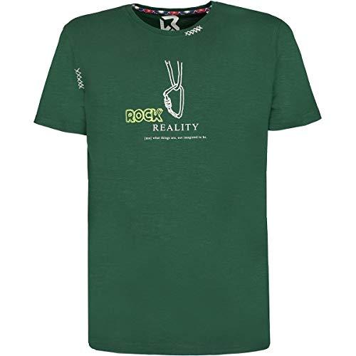 Rock experience Camiseta deportiva ligera de algodón orgánico con frases motivacionales impresas. Verde XXL