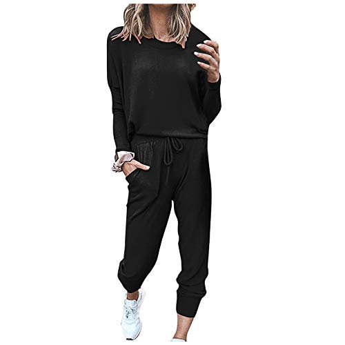 Damen Sportanzug Trainingsanzug Mode 2-teiliges Set Langarm Oberteil Top + Lange Hose Schlafanzug Loungewear mit Taschen Jogginganzug Sportbekleidung Freizeitbekleidung Outfit