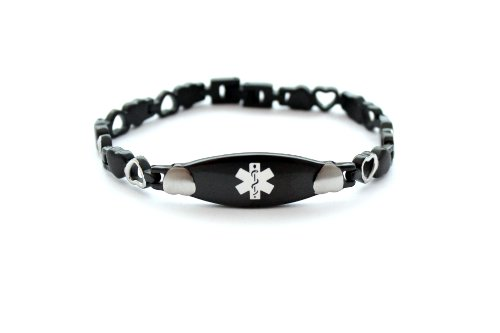 Black Satin Heart Bracelet - Medical ID