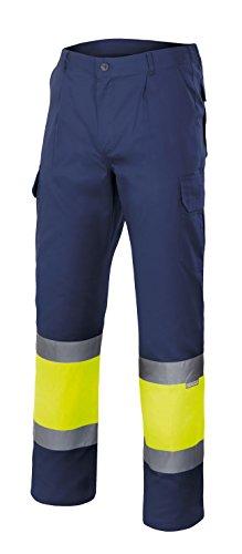 Velilla 157 - Pantaloni alta visibilità (Taglie XXL) colore blu marino e giallo fluo