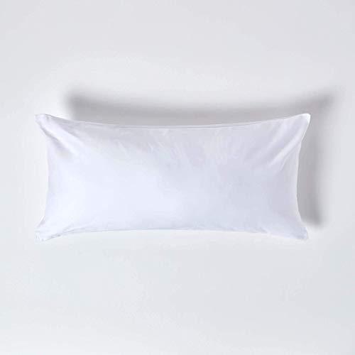 Homescapes Kissenbezug 40 x 80 cm – 100% Reine ägyptische Baumwolle Fadendichte 1000, Perkal-Kissenbezug mit Reißverschluss in Premium-Qualität – weiß