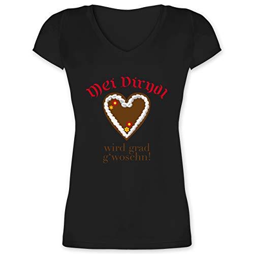 Oktoberfest & Wiesn Damen - Dirndl Wird g'woschn - Shirt statt Dirndl - 3XL - Schwarz - Trachtenbluse schwarz - XO1525 - Damen T-Shirt mit V-Ausschnitt