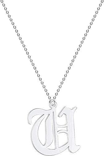 Aluyouqi Co.,ltd Collar Carta Pareja Collar Hombres Mujeres Nombre de la Bota Joyería de Acero Inoxidable Oro Rosa Amistad étnica Collares Regalos