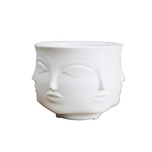 TOPofly Vasen Mann Gesichts-Blumen-Vase Home Decoration Vase Moderne Vase aus Keramik Sukkulente Kaktus Indoor Blumentopf für Blumen-Topf Pflanz WhiteHome Garten
