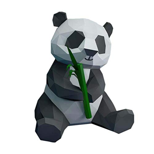 NUOBESTY Panda Et Bambou 3D Papier Modèle Géométrique Origami Papier Artisanat Stéréoscopique Bureau Bricolage Décoration Maison Ornements Jouets