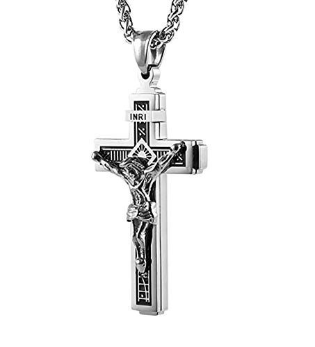 HZMAN Catholic Jesus Christ on INRI Cross Crucifix Gold Silver Tone stainless steel Pendant Necklace 22+2 Chain (Silver)