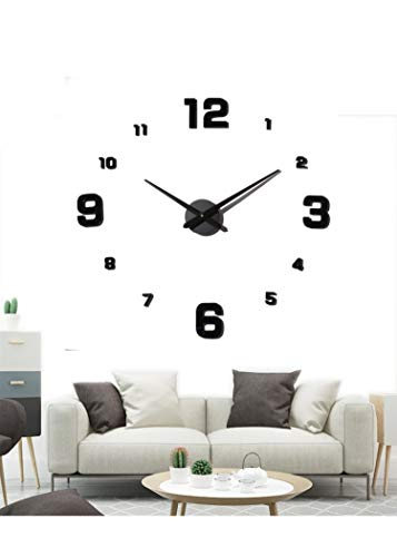 EONPOW Large 3D DIY Wall Clock Modern Frameless Mute Mirror Stickers Decoration for Living Room Bedroom