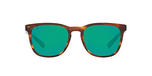 Costa Del Mar Men's Sullivan Square Sunglasses, Matte Tortoise/Green Mirrored Polarized 580G, 53 mm