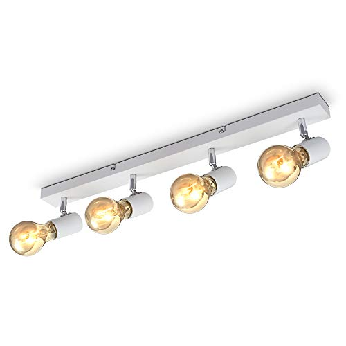 B.K.Licht Lampada da soffitto con 4 faretti orientabili, adatta per 4 lampadine E27 non incluse max 60W, metallo bianco, plafoniera per salotto, lampadario stile industriale contemporaneo per camera