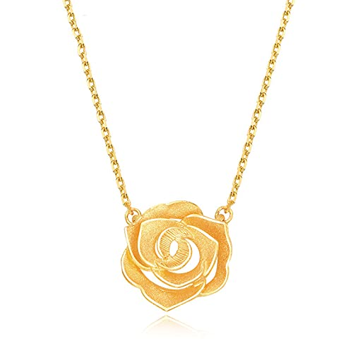 YJZW Oro Amarillo De 24 K Collar De Amor Flor De Rosa Joyas para Mujeres, para Bodas, Cumpleaños, Collar del Día De Las Madres Ajustable(42cm/16 Pulgadas)