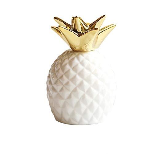 [Queen-b] パイナップル 貯金箱 かわいい 北欧 セラミック 雑貨 インテリア 置物 室内 デスク 卓上 装飾 オブジェ 果物 フルーツ ギフト 贈り物 プレゼント (ホワイト)