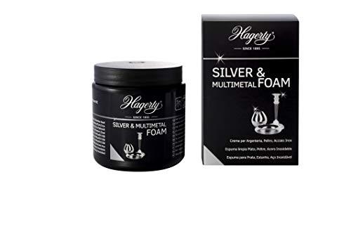Hagerty Silver & Multimetal Foam Espuma limpiadora de plata 185g I Eficaz mousse para protección de plata y metal plateado estaño acero cromo I Limpia plata renovadora de brillo I Esponja incluida