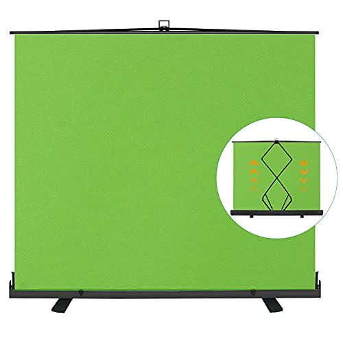 EMART 77in x 92in Collapsible Chromakey Panel Green Screen for Photo Backdrop Video Studio, Live Game, Portable Pull Up, Solid Aluminium Base Wrinkle-Resistant Fabric, Auto-Locking Air Cushion Frame