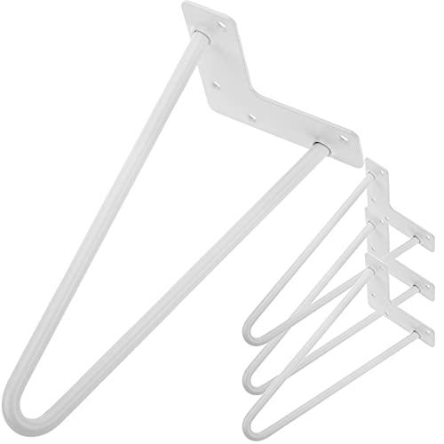 PrimeMatik - Pies para Mesa y Mueble Patas en Acero 2 Varillas 30 cm Blanco 4-Pack