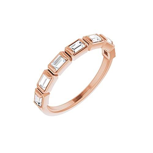 Anillo de oro rosa de 14 quilates con diamante pulido de 3 x 2 mm de 0,5 quilates para aniversario, tamaño N 1/2, joyería de regalo para mujer