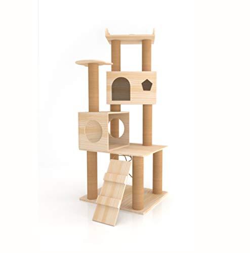 GBY Großer Massivholz Katzenkratzbaum Katzenbaum Kratzbaum Katzenbaum Katzennest Katzenkratzbaum Katzenkratzbaum Katzenkratzbaum geeignet für den Innenbereich Katze 147 * 60 * 50cm