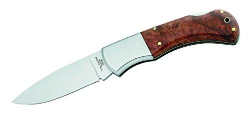 Herbertz 241710 Taschenmesser, AISI 420 Stahl, Holzbox 420-Wurzelholz Schalen-Edelstahlbacken, mehrfarbig
