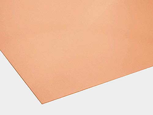 Kupferblech 1 mm dick Kupfer CU-DHP-R240 Blech Zuschnitt nach Wunschmaß Einseitig mit Schutzfolie (500 mm x 400 mm)