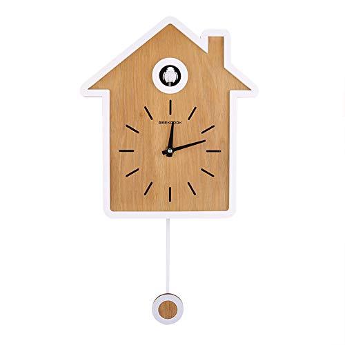 FECAMOS Reloj de Cuco, Reloj de Cuco de Estilo nórdico, Reloj de Pared Moderno y Sencillo, Hora exacta, Elegante Reloj oscilante para la decoración del hogar(Blanco)