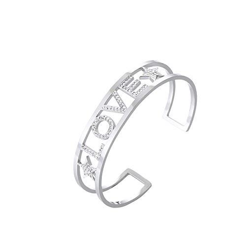 HMANE Amantes de Diamantes de imitación Letras Pulseras Anchas brazaletes Pulseras de puño Grueso para Mujeres brazaletes de Acero Inoxidable Accesorios de joyería de Mano