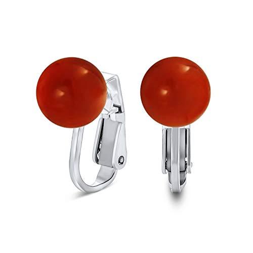 Simple rojo naranja teñido coral redondo bola clip en pendientes de perno para las mujeres 925 plata de ley 8MM