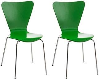 Set de 2 Sillas Comedor Calisto I Juego de 2X Sillas de Cocina con Asiento de Madera I 2X Sillas de Visitas Apilables I Color:, Color:Verde Claro