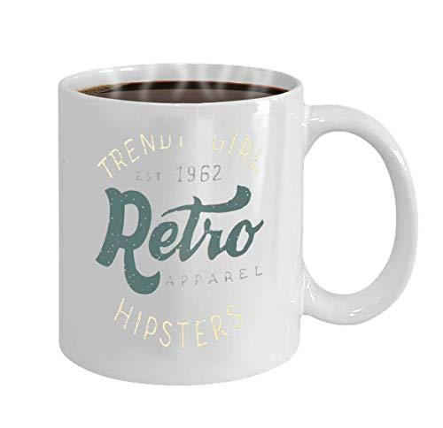 Taza de café - Un empleado Taza de cerámica Regalo para empleados Ropa retro Moda Chica Handlettering Hipsters Etiqueta de la ropa
