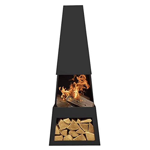 Dellonda Outdoor Chiminea Fireplace Fire Pit Heater Firewood Storage Black Steel