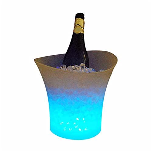Cubo de hielo de plástico impermeable de 5 l con luces LED para cambiar de color, para discotecas, bebidas alcohólicas, para barbacoas, pícnics, fiestas (tamaño gratis, color: azul)