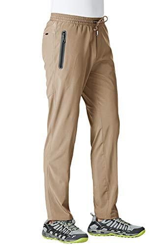 KEFITEVD Fitness Pants for Men Big and Tall Training Pants Elastic Waist Outdoor Pants Lightweight Workout Pants Khaki