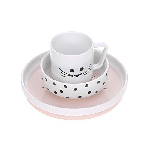 LÄSSIG Geschirrset Porzellan Kindergeschirrset Teller Schüssel Tasse mit Silikonring rutschfest Kindergeschirr/ Little Chums Mouse