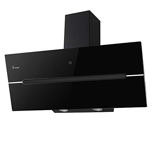 KKT KOLBE Cappa aspirante da cucina / 90 cm/acciaio inox/vetro nero/extra silenzioso / 9 gradini/illuminazione a LED/tasti sensore TouchSelect / ECCO909S